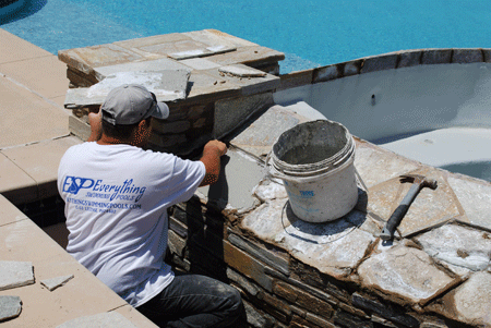 Laying thin set for San Diego pool coping repairs