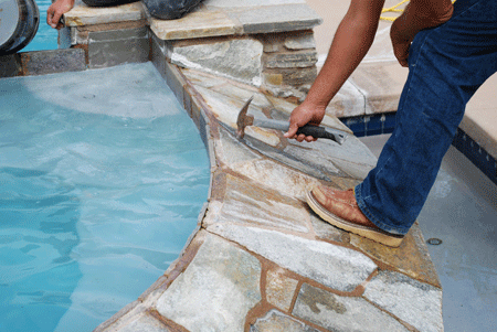 San Diego pool coping repairs looking for damage