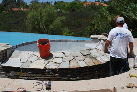 San Diego pool coping repairs for quartz