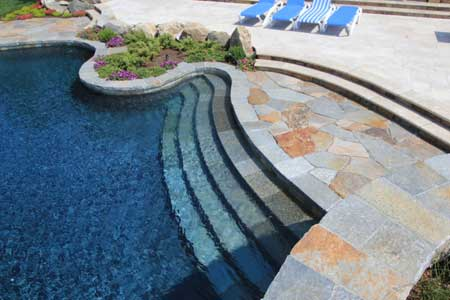 San Diego pool remodel with nice quartz coping and pebble pool finish